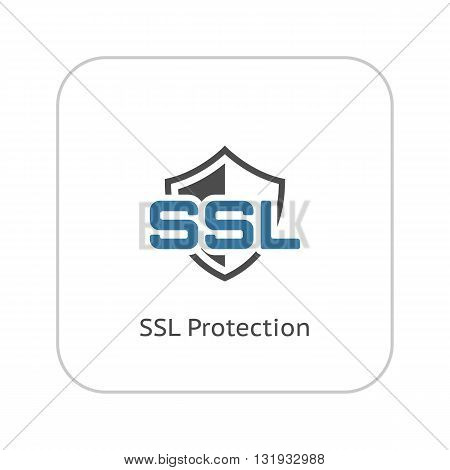SSL Protection Icon. Flat Design Isolated Illustration.
