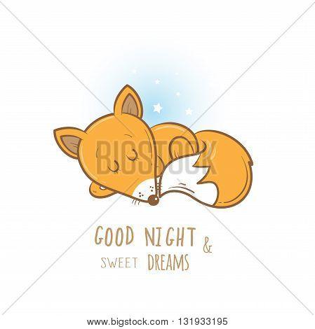 Card with cute cartoon sleeping fox. Little funny animal. Bedtime. Children's illustration. Vector image.
