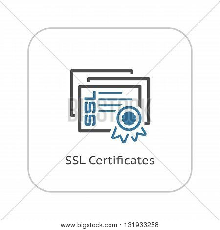 SSL Certificates Icon. Flat Design Isolated Illustration.