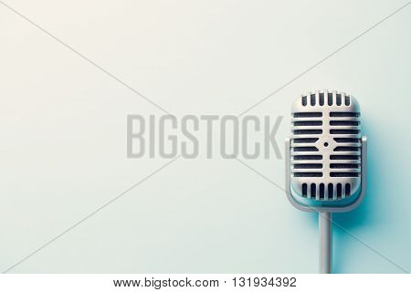 the classic vintage silver microphone
