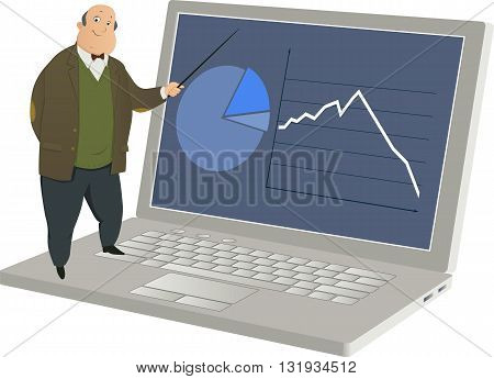 Online learning. A cartoon professor explains a graph on a giant laptop