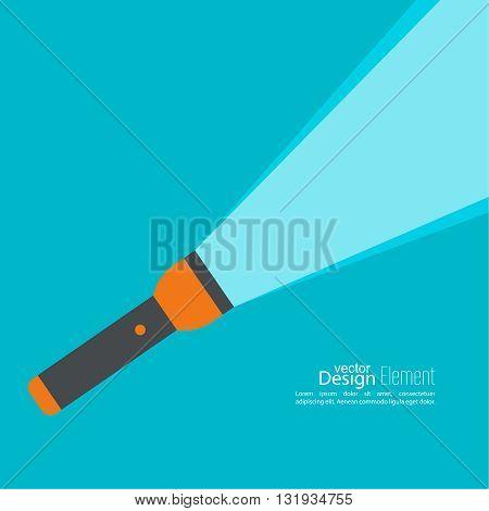 Vector background with flashlight. Vector flat flashlight illustration. The concept of search optimization, seo. Pocket flashlight icon.