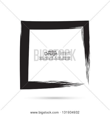 Hand drawn square, photo, foto frame. Text box and frame from black smears. Vector hand drawn frame. Black square border. Grunge Black banner frame.