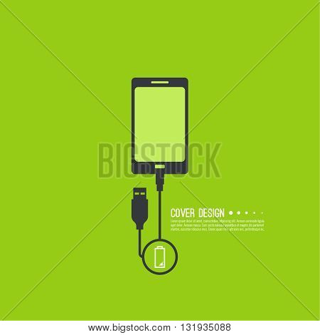 Abstract background with charge mobile phones. usb cable is connected to the phone. The concept charging. Vector. smartphone is connected usb cable power charging. Low power