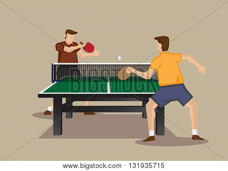 Two players playing table tennis with ping pong ball and table tennis racquets. Vector illustration of table tennis game viewed from one end of table tennis table isolated on plain background.