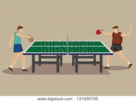 Two table tennis players playing ping pong and table tennis table. Vector illustration of men's singles table tennis game in side view isolated on plain background.