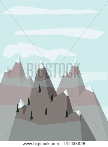 Abstract landscape with pine treeson silver mountains with snow on top over a light blue background with white clouds. Digital vector image.
