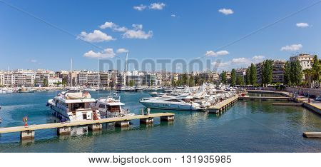 PIRAEUS, GREECE - MAY 26: Marina Zeas on May 26, 2016 in Piraeus, Greece. Marina Zeas is one of the largest marinas in the Mediterranean sea, always hosting impressive and luxury yachts.