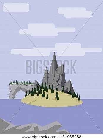 Abstract landscape with an yellow island on purple waters with pine trees hills and mountains over a light purple background with white clouds. Digital vector image.