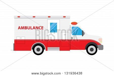 Ambulance car vector illustration. Ambulance car vector icon illustration. Ambulance car isolated vector. Ambulance car silhouette