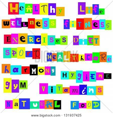 Healthy life terms background over white background