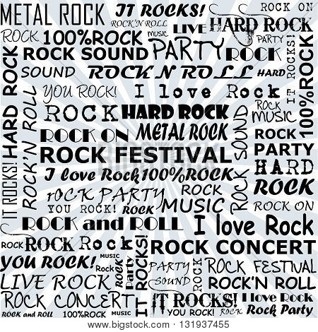 Rock and roll background with rock terms