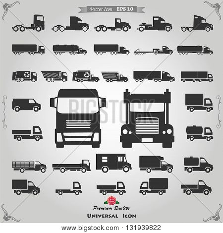 Various truck silhouettes. Commercial van icons set. See also commercial vans in color.