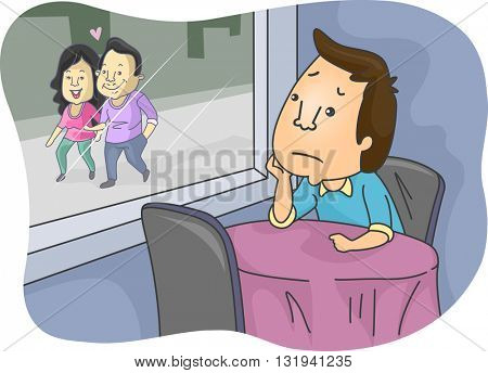 Illustration of a Lonely Man Looking at a Lovey Dovey Couple
