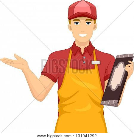 Illustration of a Waiter Welcoming Diners
