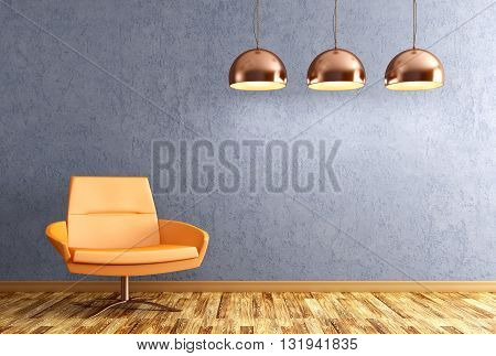 Interior Of Living Room With Armchair And Lamps 3D Rendering