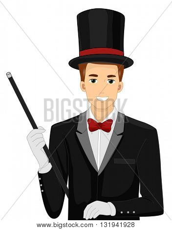 Illustration of a Man Dressed as a Magician Holding a Wand