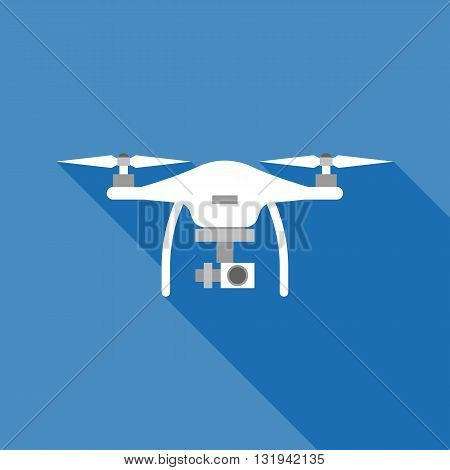 white drone vector with long shadow, flat design