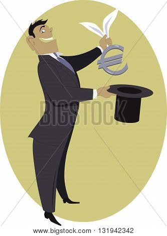 Businessman pulling a Euro sign out of a top hat