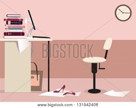 Empty office work station with a desk, computer, office chair, clock and some woman's personal items