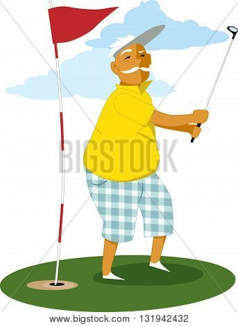 Senior man playing golf, vector illustration, no transparencies