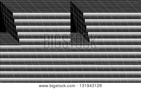 Black and white. Stairs to nowhere.  The painting in abstract form black and gray colors depict huge staircase to nowhere.
