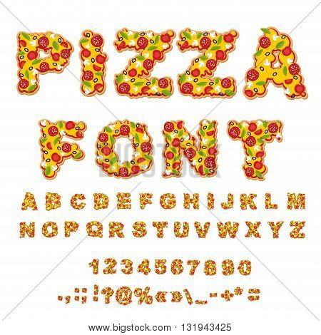 Pizza Font. Letters Dough. Food Alphabet. Fast Food Abc. Italian Food. Fresh Slice Of Pizza. Numbers