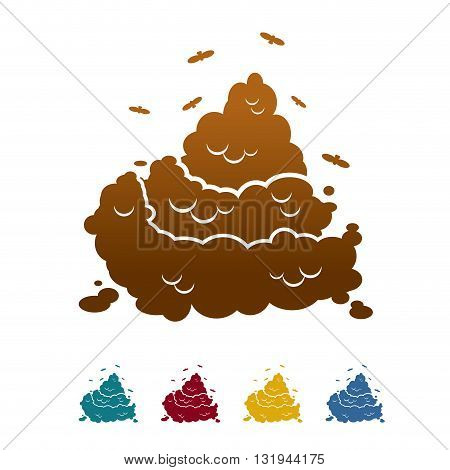Shit Icon Flat Style. Brown Turd And Fly. Offensive Piece Of Crap. Color Feces And Poop. Dog Excreme