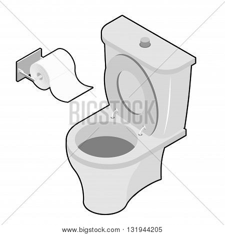 Toilet And Roll Of Toilet Paper Isometrics. Washroom Accessories. Toilet Facilities