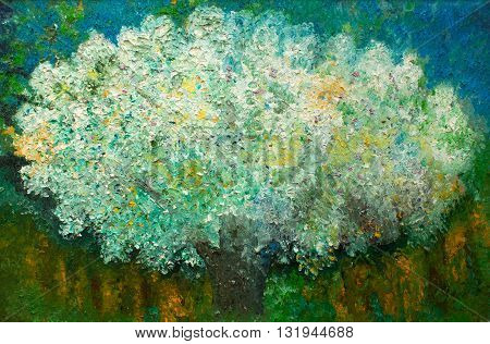 An oil painting on canvas of a dreamy magical tree, original impressionist oil painting, tree of wishes, wishing tree