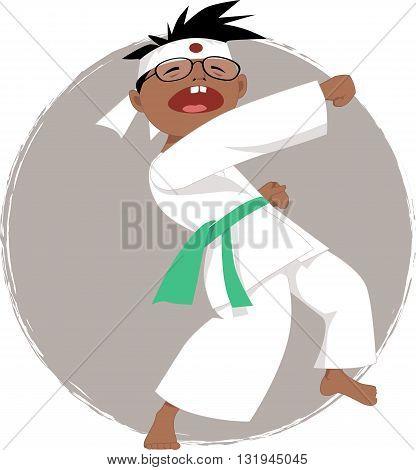 Cartoon boy in glasses doing karate, vector illustration, no transparencies