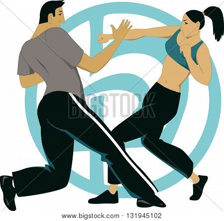 Krav Maga sparring. Male and female martial artists fight in a practice session.