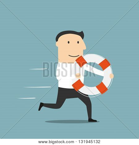 Business help, support, crisis survival, investment concept design. Cartoon businessman or investor with lifebuoy in hands running for help