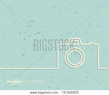 Creative vector photo camera. Art illustration template background. For presentation, layout, brochure, logo, page, print, banner, poster, cover, booklet, business infographic, wallpaper, sign, flyer.