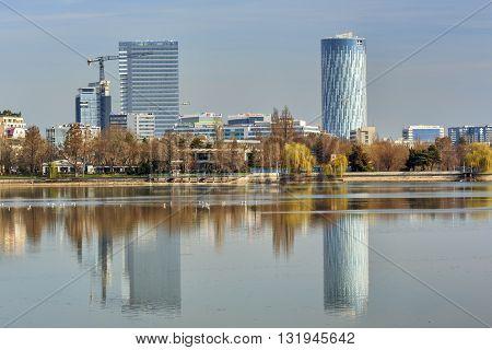 Bucharest Romania - March 07 2016: Bucharest Sky Tower Business Center. Bucharest urban landscape.