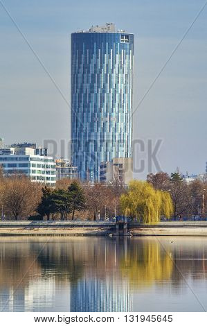 Bucharest Romania - March 07 2016: Bucharest Sky Tower Business Center. Sky Tower Business Center the tallest building in Romania at 137 meters high.