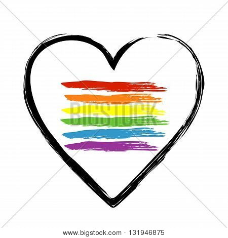 Image Pattern brush heart outline with brush strokes that mimic the LGBT flag. Simple isolated object. Sample brushes panel.