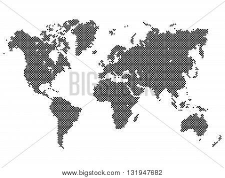 Dotted map of World. World map made of black dots in diagonal arrangement on white background.
