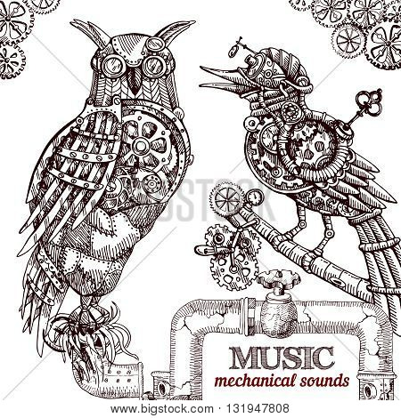 Vector hand drawn mechanical owl. Mechanical sketch animal. Steampunk style owl.