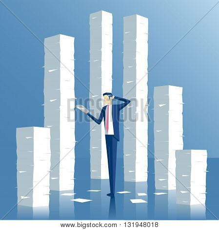 Business concept paperwork and overworked vector illustration of an employee engaged in work with documents on the background of the large stacks of papers