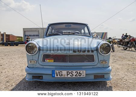 ALTENTREPTOW / GERMANY - MAY 1 2016: german trabant car stands on oldtimer show on may 1 2016 in altentreptow germany.