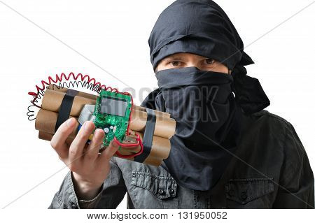 Terrorism Concept. Terrorist Holds Dynamite Bomb In Hand. Isolat