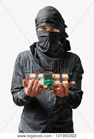 Terrorist Holds Dynamite Bomb In Hand. Isolated On White Backgro
