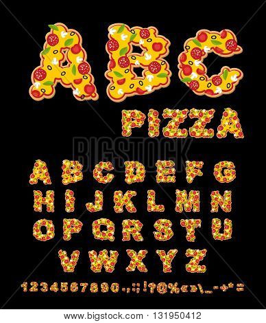 Abc Pizza. Appetizing Letters From Fast Food. Edible Font Of Traditional Italian Food. Tasty Alphabe