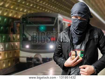 Terrorist Has Dynamite Bomb In Jacket. Train Approaching Undergr