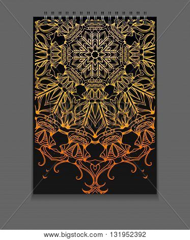 Template notebook on springs with gold freehand mandala and place for text. Vector element for your design