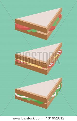 Vector flat illustration of isometric sandwich. Vector element for your creativity