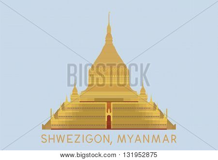 vector of Shwezigon pagoda in Nyaung-U Myanmar