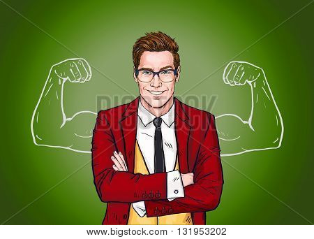 Strong Businessman in  glasses in comic style.Success .Worker. Concept, journalist, movie, smart, corporate, elegant, job, face, pop, glasses, man, necktie, Hollywood, boss, speech bubble, advertising