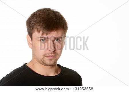 Serious young man questioning expressionhorizontal on white background with space for text